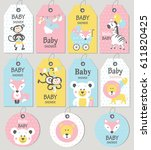 gift tags and cards baby shower.... | Shutterstock .eps vector #611820425