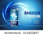 energy drink on sparkly and... | Shutterstock .eps vector #611822837