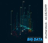 vector abstract 3d big data... | Shutterstock .eps vector #611825099