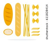 baguette and loaf of wheat ... | Shutterstock .eps vector #611828414