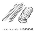 ciabatta and bread sticks.... | Shutterstock .eps vector #611830547