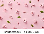 Flower Blossom Pattern On Pink...
