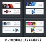 vector set of modern horizontal ... | Shutterstock .eps vector #611836931
