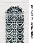 arched window with beautiful... | Shutterstock . vector #611841605