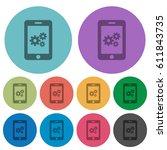 smartphone settings darker flat ... | Shutterstock .eps vector #611843735