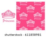 princess crown. seamless... | Shutterstock .eps vector #611858981