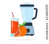 glass of grapefruit juice with...   Shutterstock .eps vector #611862029