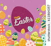 vector happy easter greeting... | Shutterstock .eps vector #611864357