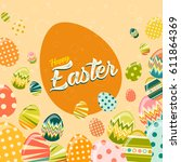 vector happy easter greeting... | Shutterstock .eps vector #611864369
