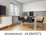 grey and white apartment with... | Shutterstock . vector #611865371