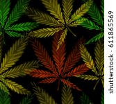 cannabis leafs   seamless... | Shutterstock .eps vector #611865569