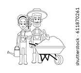 happy farmer icon image    Shutterstock .eps vector #611870261