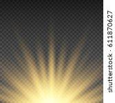 gold glowing light burst...   Shutterstock .eps vector #611870627