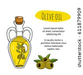 colorful hand drawn olive oil... | Shutterstock .eps vector #611879909