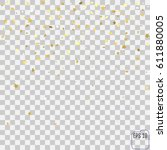gold star confetti rain festive ... | Shutterstock .eps vector #611880005