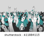 illustration of massive crowd... | Shutterstock .eps vector #611884115