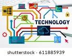 social media and network... | Shutterstock . vector #611885939