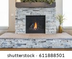 stone fire place and hearth | Shutterstock . vector #611888501