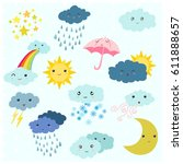 adorable cartoon weather... | Shutterstock .eps vector #611888657