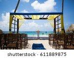 summer beach wedding | Shutterstock . vector #611889875