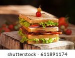 club sandwich with sliced...