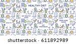 healthy diet vector... | Shutterstock .eps vector #611892989
