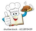 cook book mascot wearing hat... | Shutterstock .eps vector #611893439