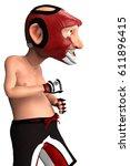 mma grampa cartoon ready to... | Shutterstock . vector #611896415