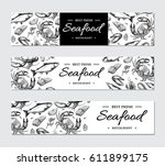 seafood banner vector template... | Shutterstock .eps vector #611899175