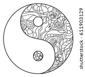 yin and yang. zentangle. hand... | Shutterstock .eps vector #611903129