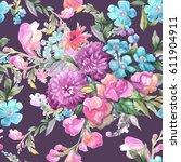 beautiful watercolor bouquet of ... | Shutterstock . vector #611904911