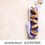 sandwiches rye bread with cream ...