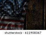 usa flag on a wood surface | Shutterstock . vector #611908367