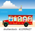 a bus travels in the shore in... | Shutterstock .eps vector #611909627