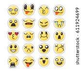 set of cute lovely kawaii... | Shutterstock .eps vector #611924699