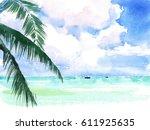 tropical watercolor caribbean... | Shutterstock . vector #611925635