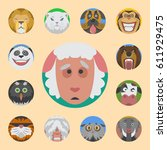cute animals emotions icons... | Shutterstock .eps vector #611929475
