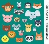 animals carnival mask vector... | Shutterstock .eps vector #611929484