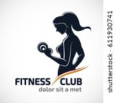 fitness club logo or emblem... | Shutterstock .eps vector #611930741