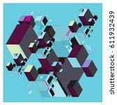 vector isometric abstract... | Shutterstock .eps vector #611932439