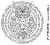Hand Drawn Zentangle Owl  Bird...