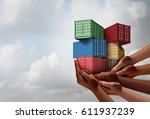 cargo group shipping concept... | Shutterstock . vector #611937239