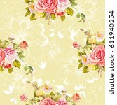 seamless floral pattern with... | Shutterstock .eps vector #611940254
