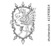 vector image of a heraldic... | Shutterstock .eps vector #611950814