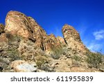 rock outcrops in the desert... | Shutterstock . vector #611955839