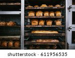 a lot of ready made fresh bread ... | Shutterstock . vector #611956535