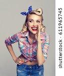 portrait of beautiful young... | Shutterstock . vector #611965745