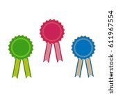 ribbon award. emblem modern... | Shutterstock . vector #611967554