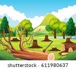 forest scene with stump trees... | Shutterstock .eps vector #611980637