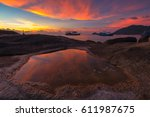 sunset at mae haad beach in koh ... | Shutterstock . vector #611987675